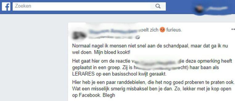 Voorbeeld van een heksenjacht op een openbaar Facebook-profiel