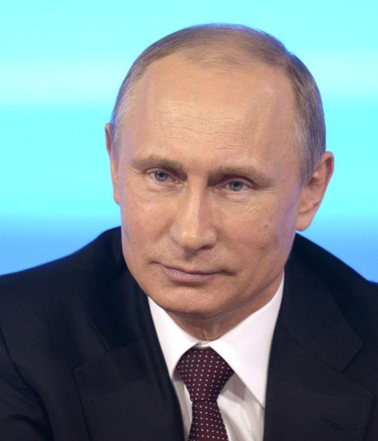 Poetin tijdens zijn jaarlijkse 'vragenuurtje' Beeld afp