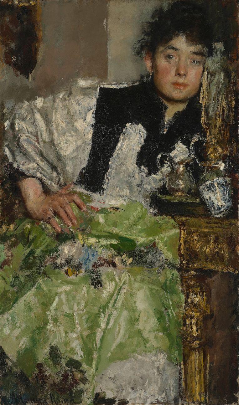 'In gedachten verzonken', olieverfschilderij van Antonio Mancini, circa 1895-1898.  Beeld De Mesdag Collectie,  Den Haag