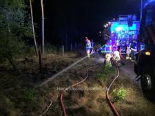 Brand door blikseminslag in hek