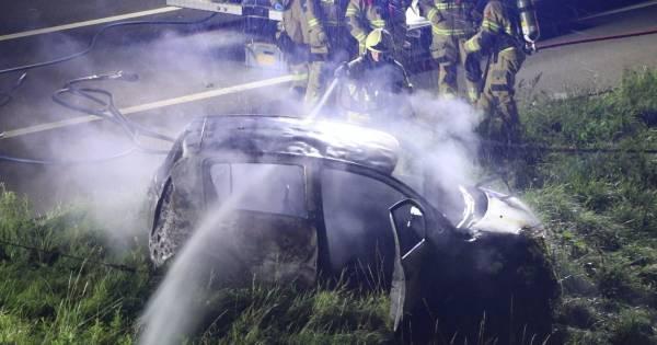 Ernstig ongeval op A50 in Herpen, auto volledig afgebrand.