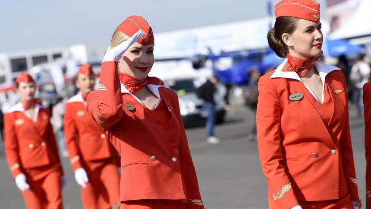 De cabin crew van de Russische vliegmaatschappij Aeroflot. Beeld anp