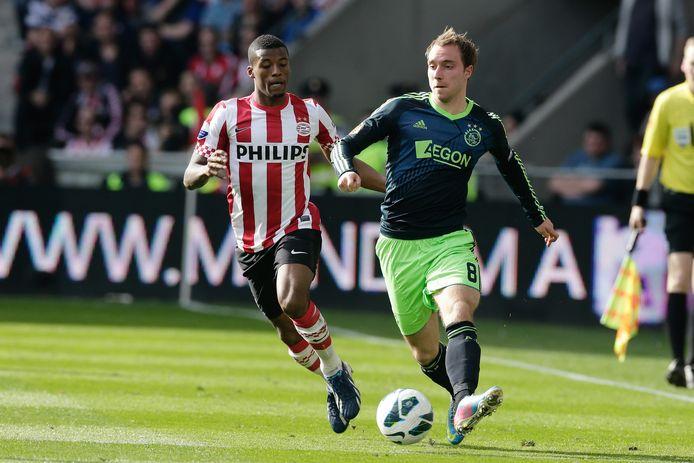Georginio Wijnaldum in actie tegen Ajax.