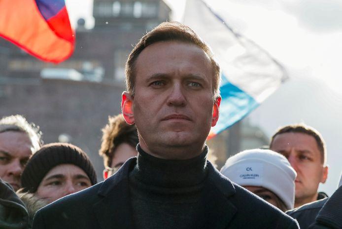 De Russische oppositieleider Navalny begin dit jaar in Moskou.