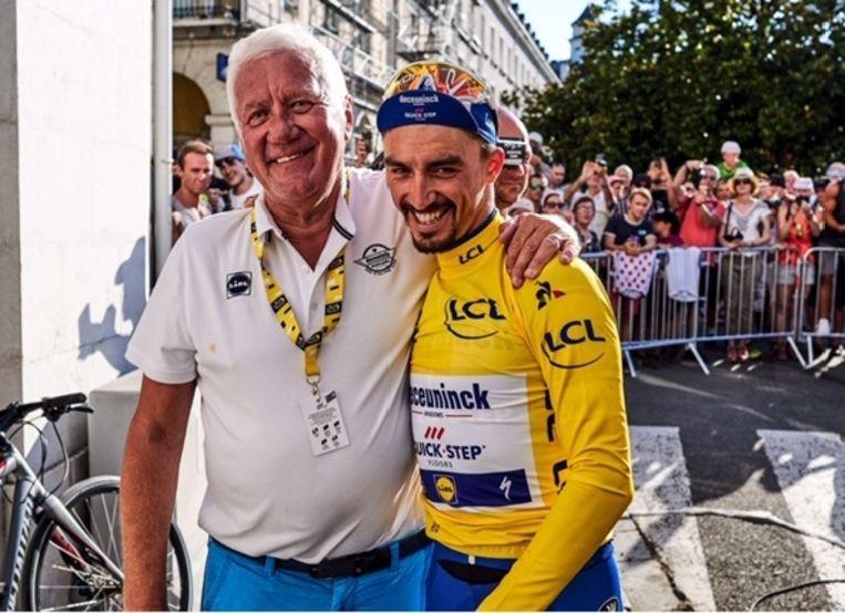 'Ploegbaas Patrick Lefevere: 'Telkens wanneer hij wint, vraagt hij me: 'Patrick, tu es fier de moi?' Hij wil altijd dat je hem graag ziet, dat je tevreden bent.'' Beeld