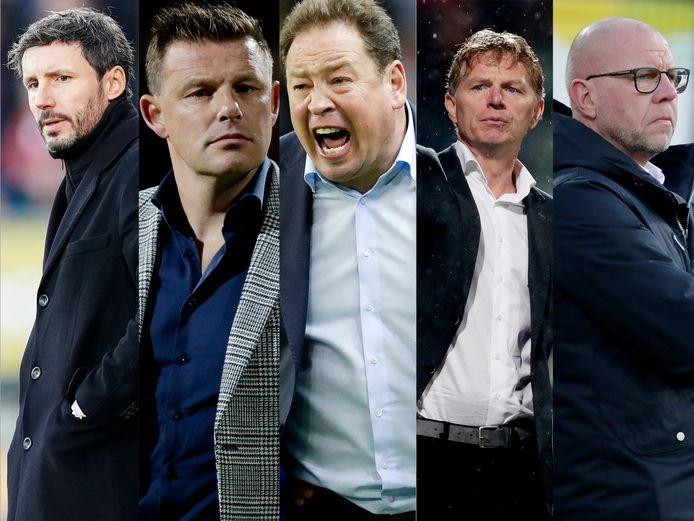 Trainers in zwaar weer: Van Bommel,Stegeman, Sloetski, Sloetski, Groenendijk en Grim.