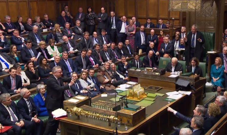 Het Britse Lagerhuis tijdens de stemming. Beeld AFP PHOTO / PRU