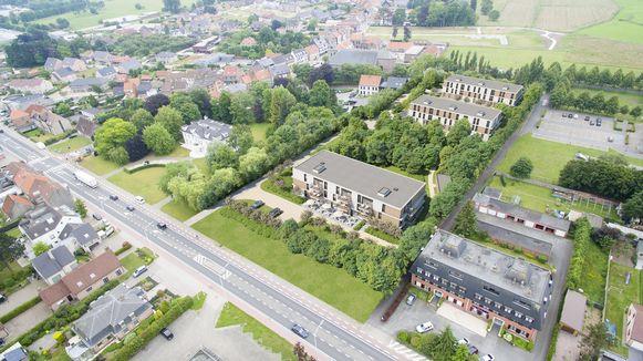 Op dit luchtbeeld zie je een simulatie van het project, de drie woonblokken rechts van het Witte huis.