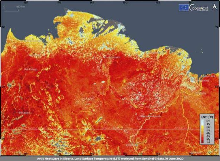 In de Siberische stad Verchojansk is vorige week een recordtemperatuur van 38 graden gemeten. Het gebied heeft te maken met een hittegolf.