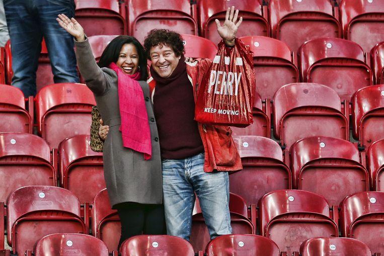 David Endt op de tribune bij Ajax tegen ADO Den Haag. Beeld PRO SHOTS