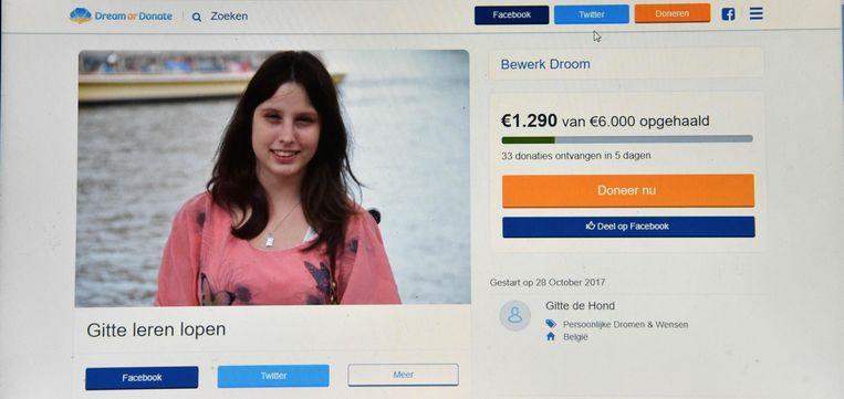 Gitte heeft al 1.290 euro verzameld met haar crowdfundingsactie.
