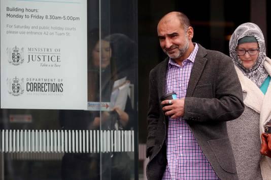 Yama Nabi, de zoon van Daoud Nabi die werd doodgeschoten tijdens de aanslagen in Christchurch, was ook aanwezig in de rechtbank.