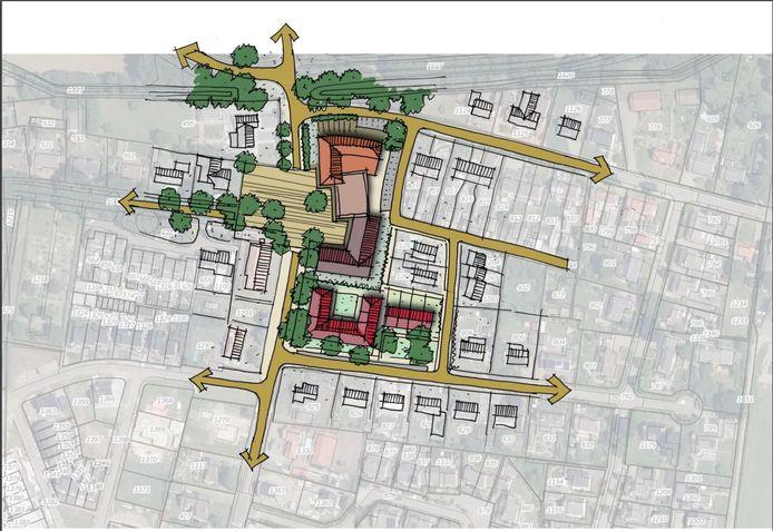 De eerste schets voor het nieuwe dorpshart van Haghorst.
