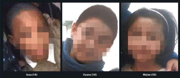 Drie van de kinderen uit Syrië, Issa, Ilyass en Walae.