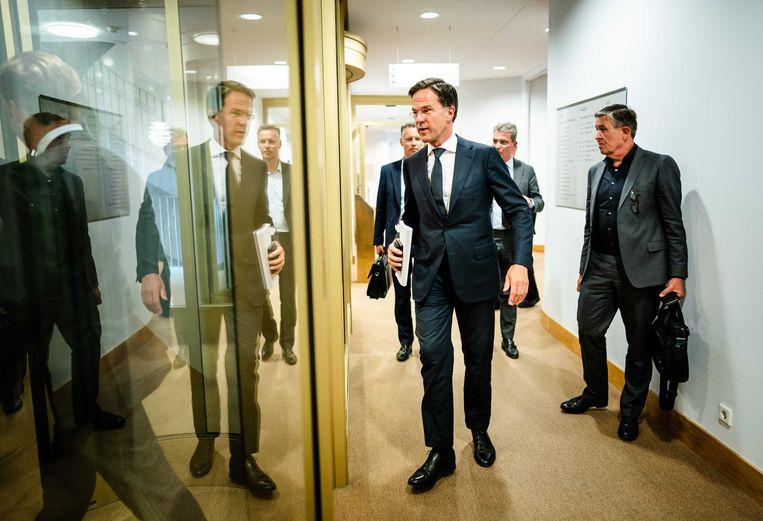 Premier Mark Rutte na afloop van een persconferentie na afloop van een overleg van de Ministeriele Commissie Crisisbeheersing over het coronavirus.  Beeld ANP
