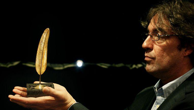 Joost Zwagerman in 2008 bij de uitreiking van de Gouden Ganzenveer. Beeld anp