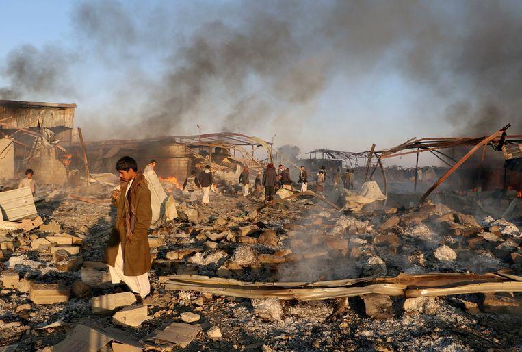 De stad Sa'dah in Jemen is getroffen door een luchtaanval, 6 januari 2018. Beeld Reuters