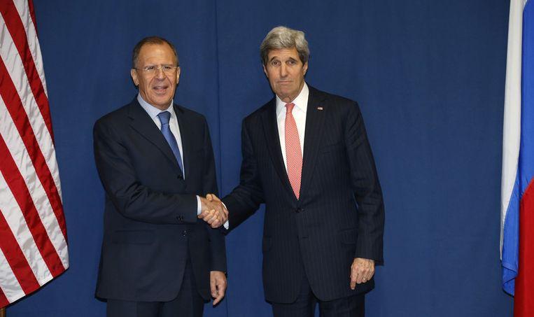 De Russische en Amerikaanse minister van Buitenlandse Zaken John Lavrov en John Kerry Beeld ap