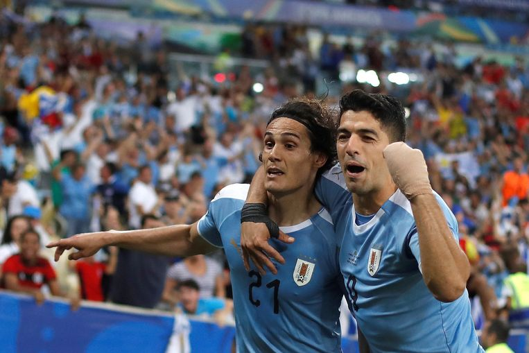Suárez en doelpuntenmaker Cavani blij met de opener.