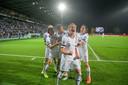 Fredrik Jensen (9) viert zijn goal tegen Armenië dinsdagavond.