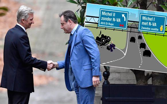 """N-VA postte een cartoon op sociale media van een 'gecrashte' premier Michel op de """"afrit Di Rupo""""."""