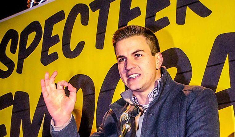Dries Van Langenhove op de 'Mars voor Democratie' in Ninove.