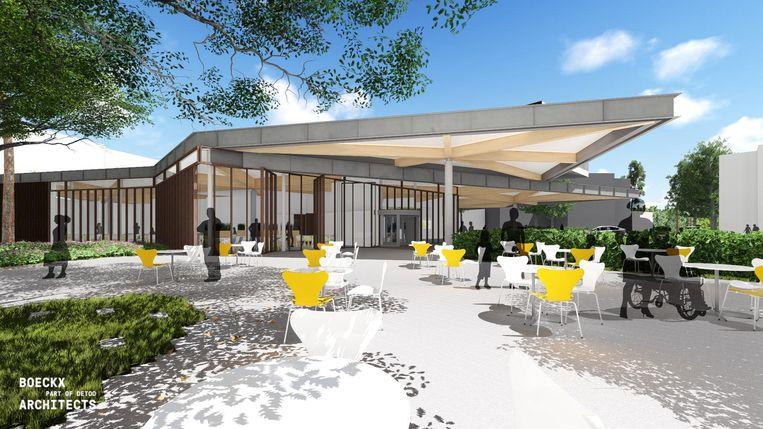 Het nieuwe inkomgebouw krijgt een cafetaria met terras.
