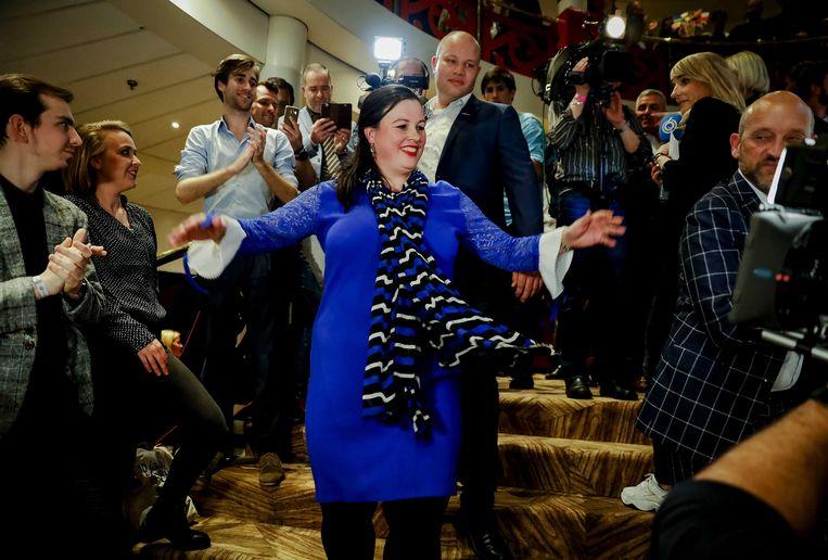 Fractievoorzitter Annabel Nanninga van Forum voor Democratie (FvD) tijdens de uitslagenavond van de Provinciale Statenverkiezingen en de waterschapsverkiezingen. Beeld ANP