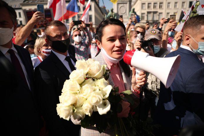 Svetlana Tichanovskaja bij een demonstratie bij het EU-parlement in Brussel.