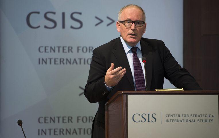 Frans Timmermans breekt een lans voor het TTIP tijdens zijn toespraak voor het Center for Strategic & International Studies. Beeld epa