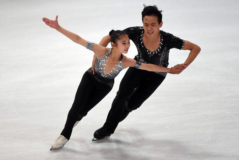 Kunstschaatsers Ryom Tae-ok and Kim Ju-sik Beeld afp
