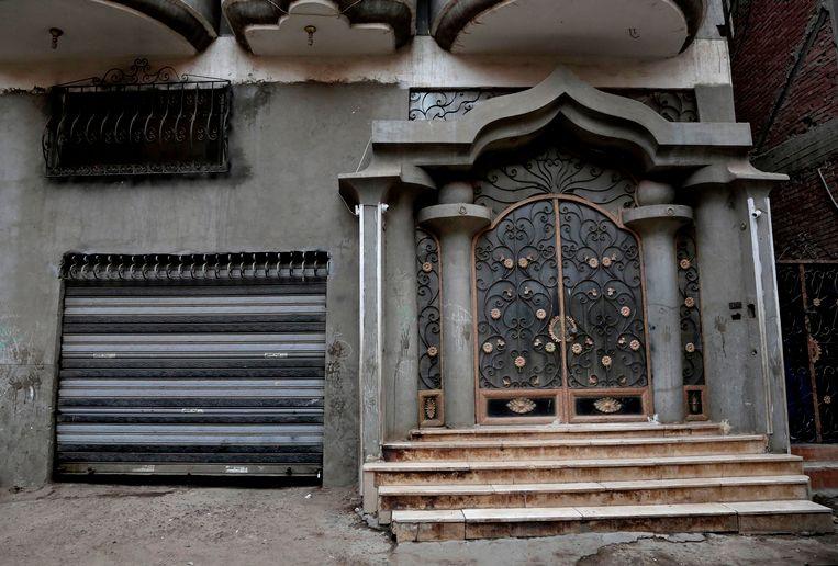 De façade van het huis waar Mo Salah opgroeide in Nagrig.
