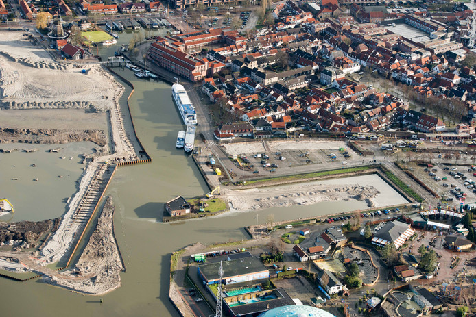 Aerial image of entrance of Beverentunnel also called Breda Rotterdam tunnel  at Port of Antwerp,