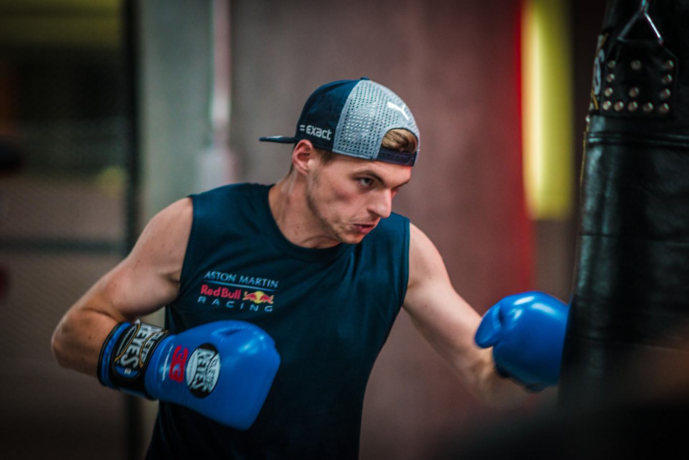 Max Verstappen in de gym, archieffoto.
