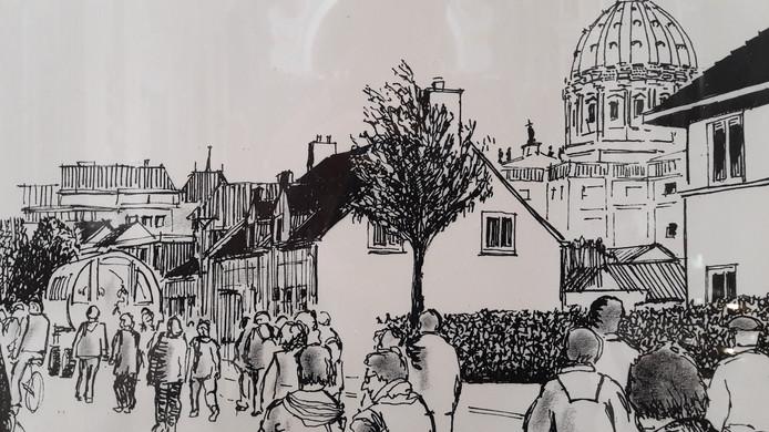 Een van de pentekeningen die Harry Lievaart maakte van de Bernarduswandeling.