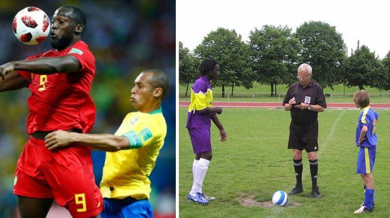 Links: Lukaku in duel met Miranda. Rechts: in het shirt van zijn school Sjabi (het Sint-Jan Berchmansinstituut in Puurs) waarmee hij de finale van de prestigieuze Kardinaalsbeker speelde.