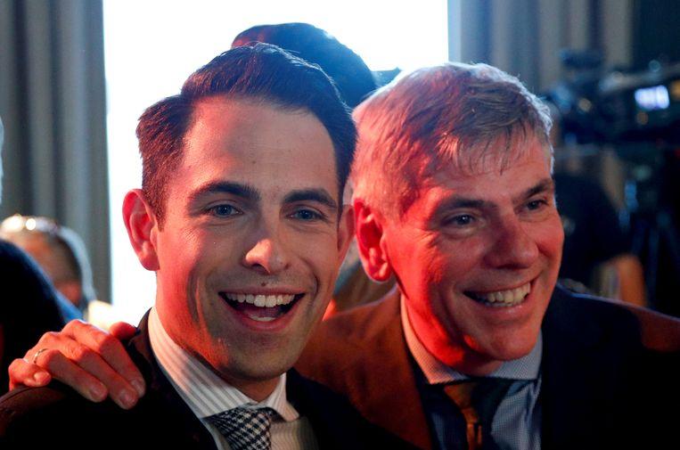 Vlaams Belang-voorzitter Tom Van Grieken en Antwerps kopstuk Filip Dewinter