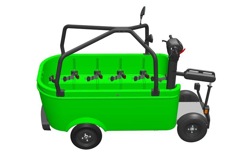 De 'Stint 2019'. Nieuw ten opzichte van de vorige versie zijn onder meer de rolkooi die tegen omvallen moet beschermen, de zijspiegels en de beensteun voor de bestuurder op het staplateau. Beeld Stintum