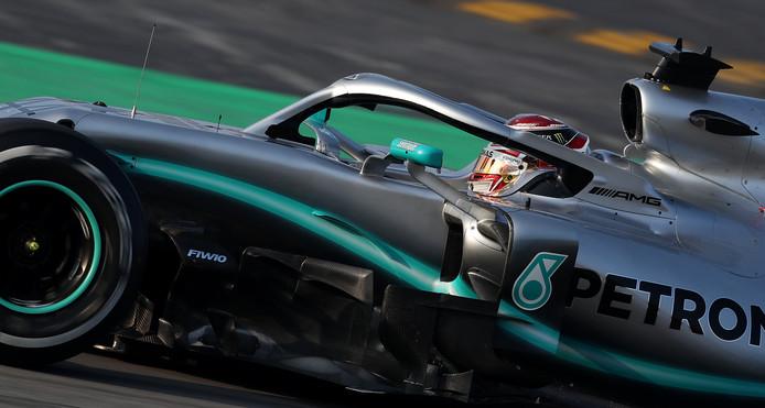Lewis Hamilton in de Mercedes