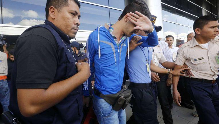 Eén van de gearresteerde Syriërs in Honduras. Beeld anp