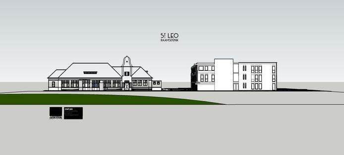 Een artist impression van het Leogebouw, met ernaast een nieuw appartementencomplex.