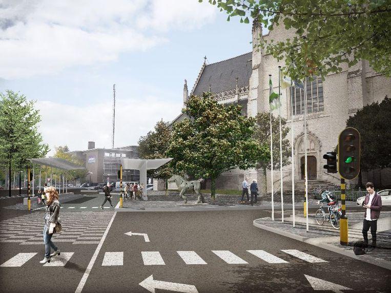Illustratie: Zo zal het heringerichte Heldenplein er komende vanaf de Stationlei gaan uitzien, met verkeerslichten dus.