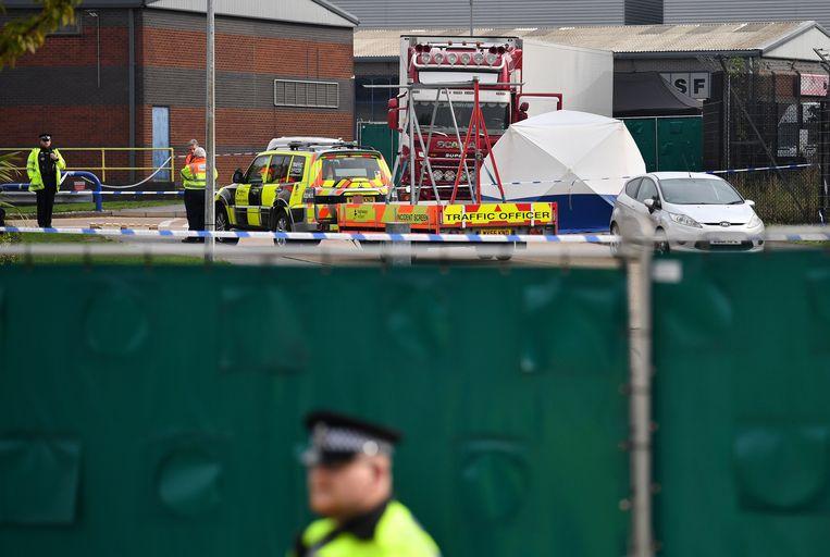 De politie doet nog onderzoek op het industrieterrein. Beeld AFP