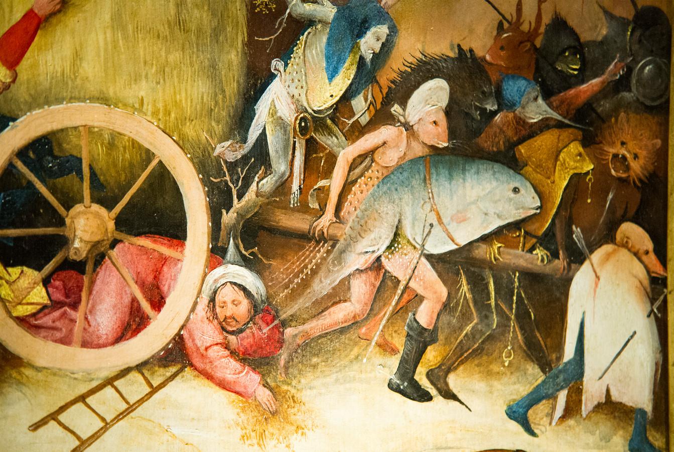 Een detail uit een schilderij van Jeroen Bosch, die religieuze schilderijen maakte.
