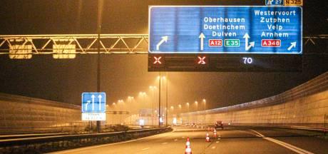 Komende weken A12 bij Velperbroekcircuit 's avonds deels afgesloten door werkzaamheden