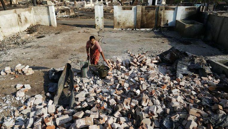 De schade van eerdere vernielingen deze maand in Birma Beeld reuters