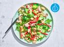 Maaltijdsalade van limabonen, tonijn en paprika