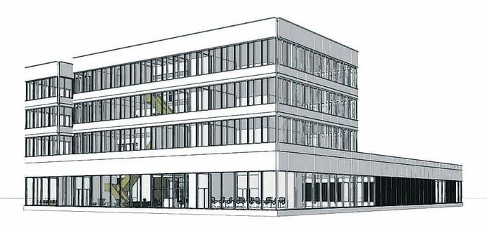 Een tekening van het nieuwe Solliance gebouw dat momenteel wordt gebouwd.