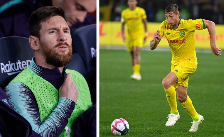 Links: Lionel Messi. Rechts: Emiliano Sala.