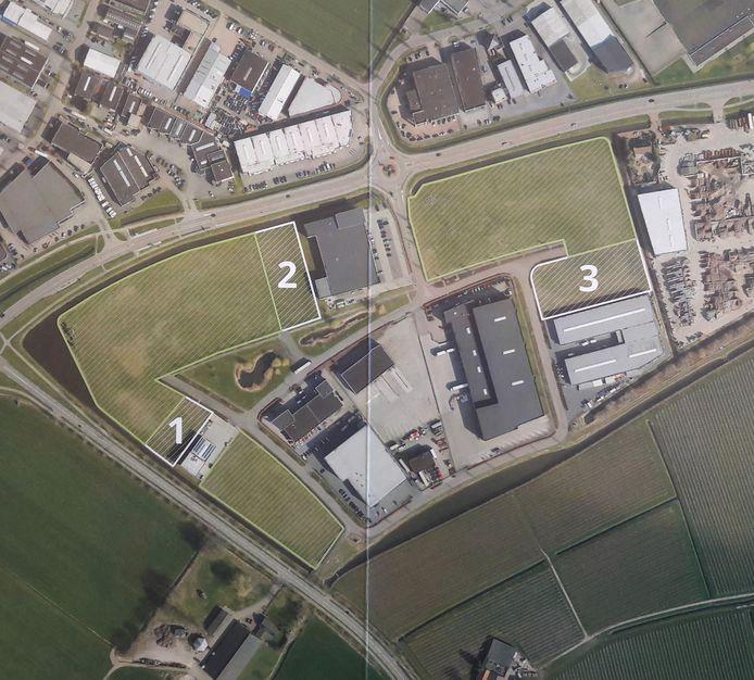 De nog vrije locaties van Westerhout-Zuid zijn met arcering aangegeven en de cijfers 1 tot en met 3.